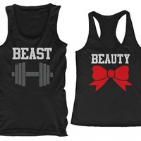 BLACK Beauty & Beast Cute Matching Couple Tank tops