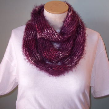 Purple and White Infinity Scarf, Womans Knit Scarf, Purple Loop Scarf, Teen Knit Infinity Scarf, Neck Warmer, Knit Scarf - Ready to Ship