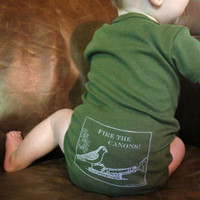 $18.00 Onesuit Fire the Canons funny screen print baby by TheCoinLaundry