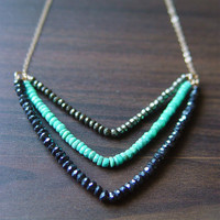 $69.00 Chevron Pyrite Turquoise Necklace 14k Gold by friedasophie on Etsy
