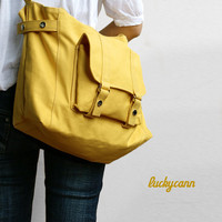 $48.00 CARSON Lemon Chiffon Handmade Canvas Bag by luckycann