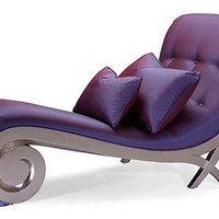 the lounge chair with scrollwork on the front, and crossed his legs in the back look graceful with the color purple - design ideas and pictures on Interior Design and Decoration Ideas