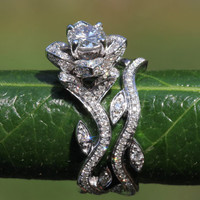 BLOOMING Work Of Art - 14k Flower Leaf Rose Lotus Diamond Engagement Wedding Ring Set - Leaves on the band - brides - fL07- Patented design