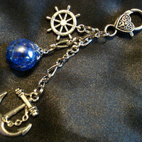 Nautical Fried Marble Anchor Rudder Deep Blue Love Keychain