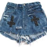 Crosses studded high waist shorts XS by deathdiscolovesyou on Etsy