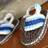 Crochet Baby Boy Flip Flop Sandals--Made to Order