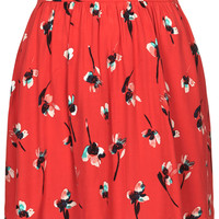 PETITE PAINT FLORAL FLIPPY SKIRT