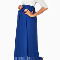 Royal-Blue-Chiffon-Colorblock-Maternity-Maxi-Dress