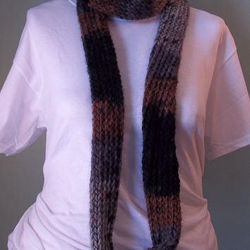 Gray Infinity Scarf, Gray and Brown Scarf, Gray Loop Scarf, Hand Knit Scarf, Knit Scarf, Silver Brown and Black Circle Scarf - Ready to Ship