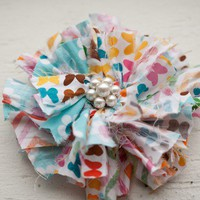Shabby Chic fringed Fabric Flower Headband or Clip by takupic27