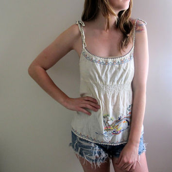 Vintage Embroidered Tunic Tank Mini Peasant Hippie Mexican Short Yellow Floral Print Flowers Flowy Gypsy Bohemian Off White