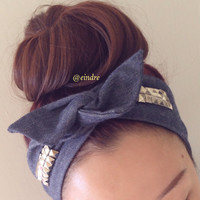 EXCLUSIVE Denim Studded Dolly Bow Headband