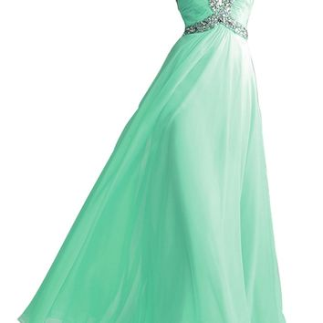 VILAVI Women's A-line Sweetheart Sweep Chiffon Crystall Prom Dresses