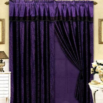 Black/Purple Flocking Leopard Satin Window Curtain Drape Set+Sheer Liner+Valance