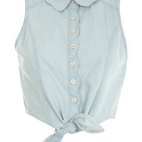 Scalloped Tie Shirt - Shirts & Blouses  - Tops  - Miss Selfridge