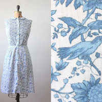 bird dress vintage 1960's bird print party dress by Thrush