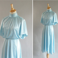 Vintage BLUE BATWING Disco Dress by TwirlVintageCo on Etsy