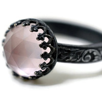 Rose Quartz Renaissance Ring, Natural Pink Gemstone Ring, Engagement Ring, Oxidized Silver Ring, Black Floral Band