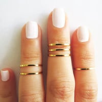 FASHION DESIGNER — SET OF 6 STACK MIDI RINGS, GOLD JEWELRY, WIRE RING, GOLD ACCESSORIES AEBGFE