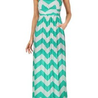 Chevron Maxi Dress Mint White with Pockets