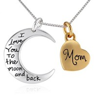"Two-Toned Sterling Silver with Yellow Gold Flashed Heart ""Mom I Love You To The Moon and Back"" Pendant Necklace, 18"""