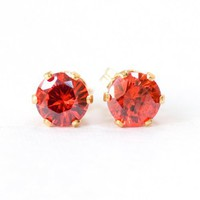 Round Red CZ Handmade Gold Filled Pierced Earrings Studs | SusanSheehan - Jewelry on ArtFire