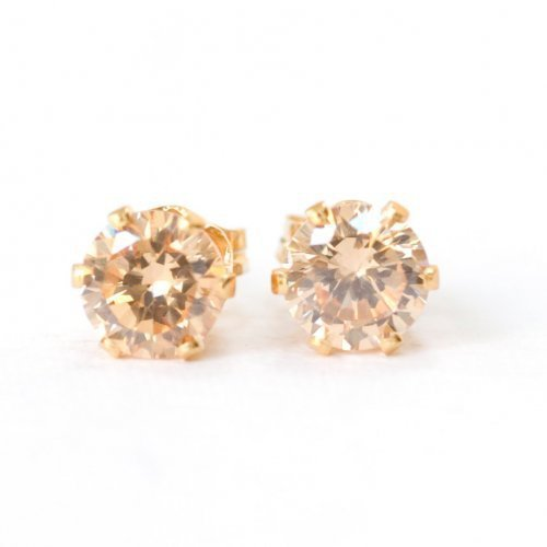 Champagne Pink CZ Gold Filled Posts Pierced Handmade Earrings Studs...... | SusanSheehan - Jewelry on ArtFire