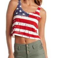 AMERICAN FLAG PRINT SWING CROP TOP