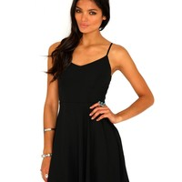 Missguided - Paula Caged Back Swing Dress In Black
