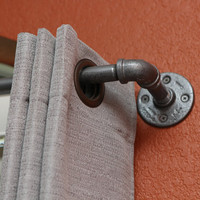 "Short Industrial chic pipe curtain rod (0.5"" galvanized pipe)"