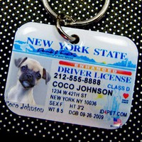 New York Driver License Pet ID Tag by id4pet on Etsy