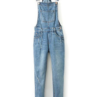 ROMWE Straps Pocketed Loose Blue denim Jumpsuit