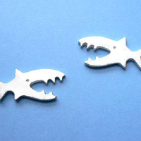 Shark Stud Earring  Handmade Silver Jewelry by StudioRhino on Etsy