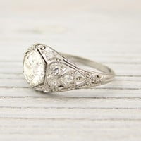 1.59 Carat Old European Cut Diamond Vintage Platinum Engagement Ring | Shop | Erstwhile Jewelry Co.