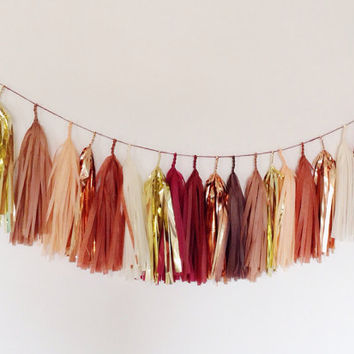 Fall Flourish Tassel Garland (brown maroon gold)