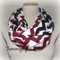 Maroon & Black Chevron 2 Pair Team Colors Jersey Knit Infinity Scarves Alabama Crimson Tide Game Day Team Scarf