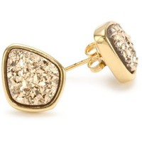 Click to watch this video  Marcia Moran Gold Druzy Organic Drop Stud Earrings