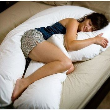 Oversized - Total Body Pregnancy Pillow- Full Support- 400 Thread Count - 1 Year Warranty - Exclusively By Blowout Bedding