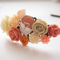 glamasaurus ♥Kawaii Cute Sweet Jewelry + Accessories ♥ — Peach Swan Cameo Cluster Headband