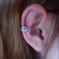 Ear Cuff, Hand Hammered Aluminum With A Cute Double Heart Stamped Into The Metal And Blackened | Luulla