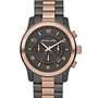 Michael Kors Michael Kors Oversized Gunmetal Color and Rose Golden Stainless Steel Runway Chronograph Watch - Michael Kors