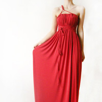 Red Beauty Long Convertible dress with braided by WhimsyTime