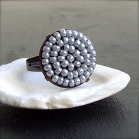 Glass Bead Woven Copper  Ring  'Pewter Pod' by Balanced on Etsy
