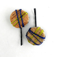 Blue and Chartreuse Wine Cork Bobby Pin Hair Accessories