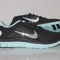 NIKE run free 4.0 V3 running shoes w/Swarovski Crystals detail - Dark Charcoal/ teal mint
