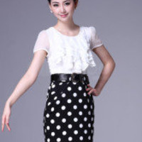 Shaping White Polka Dot Ruffled Cotton Blend Women's Dress -  Milanoo.com
