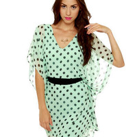 Lovely Mint Dress - Polka Dot Dress - Kaftan Dress - $4.00
