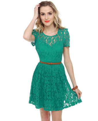 Cute Lace Dress - Teal Dress - Belted Dress - $69.00