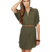 Cute Shirt Dress - Army Green Dress - Drab Green Dress - &amp;#36;53.00
