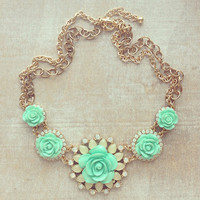 Mint Rose Cupid Necklace